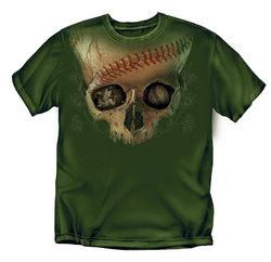 Large Skull Baseball T-Shirt (Army Green)