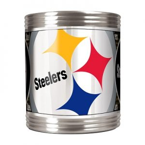 Stainless Steel Can Holder with Metallic Graphics Pittsburgh Steelers – 73513