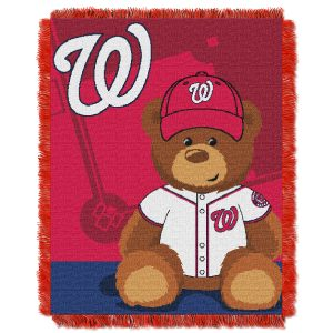"""Nationals OFFICIAL Major League Baseball, """"""""Field Bear"""""""" Baby 36″""""x 46″"""" Triple Woven Jacquard Throw  by The Northwest Company"""